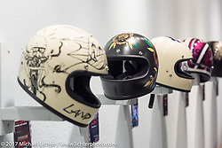 Helmet display at the Old Iron - Young Blood exhibition during the media and industry reception in the Motorcycles as Art gallery at the Buffalo Chip during the annual Sturgis Black Hills Motorcycle Rally. Sturgis, SD. USA. Sunday August 6, 2017. Photography ©2017 Michael Lichter.