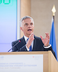 Swiss Federal Department of Foreign Affairs Didier Burkhalter delivers a speech during the Geneva Conference on Preventing Violent Extremism in Geneva, Switzerland, April 8, 2016. United Nations Secretary-Genera Ban Ki-moon said Friday that a paradigm shift is needed to address violent extremism affecting communities across the globe. EXPA Pictures © 2016, PhotoCredit: EXPA/ Photoshot/ Xu Jinquan<br /> <br /> *****ATTENTION - for AUT, SLO, CRO, SRB, BIH, MAZ, SUI only*****