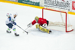 KOREN Gal (SLO) vs LUBYS Laurynas (LTU) during OI pre-qualifications of Group G between Slovenia men's national ice hockey team and Lithuania men's national ice hockey team, on February 6, 2020 in Ice Arena Podmezakla, Jesenice, Slovenia. Photo by Peter Podobnik / Sportida