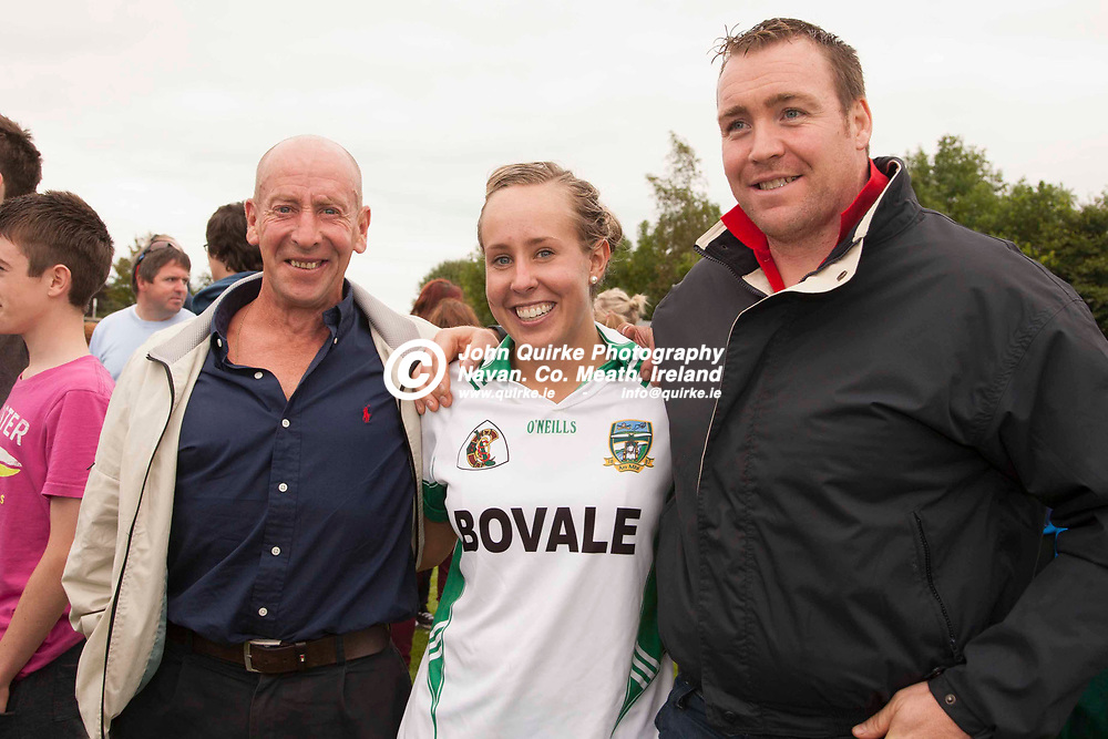 Kerry vs Meath, All Ireland Junior B Camogie Final at Cloughjordan, 25th August 2013<br /> Yvonne Maguire pictured with her dad, Michael Maguire (Left) & Martin McNally (All Trim) pictured after Meath defeated Kerry in the All Ireland Junior B Camogie Final<br /> Photo: David Mullen / www.quirke.ie ©John Quirke Photography, Unit 17, Blackcastle Shopping Cte. Navan. Co. Meath. 046-9079044 / 087-2579454.
