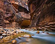 The Zion Narrows is an incredible unique hike, where you walk through a river surrounded by thousand foot rock walls on either side, this was an especially picturesque bend in the winding river course.