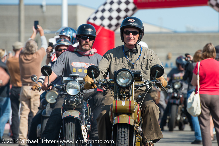 Steve DeCosa riding his 1927 Harley-Davidson JD over the finish line at the end of Stage 16 (142 miles) of the Motorcycle Cannonball Cross-Country Endurance Run, which on this day ran from Yakima to Tacoma, WA, USA. Sunday, September 21, 2014.  Photography ©2014 Michael Lichter.