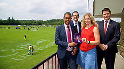 CARDIFF, WALES - Thursday, June 1, 2017: Vaughan Gethin (Welsh Cabinet Secretary for Health, Well-being and Sport), Stuart Van Stone (Head of Sport, University of Wales), Manon Rees-O'Brien (Community Sport Senior Officer for Sport Wales) and Welsh Football Trust Chief Executive Neil Ward during the FAW National Women's & Girls Football Festival in at the Cardiff University Sports Fields in Llanrumney. (Pic by David Rawcliffe/Propaganda)