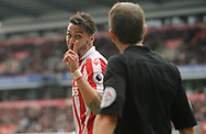 Geoff Cameron of Stoke conflicts with the assistant referee.Premier league match, Stoke City v West Ham Utd at the Bet365 Stadium in Stoke on Trent, Staffs on Saturday 29th April 2017.<br /> pic by Bradley Collyer, Andrew Orchard sports photography.