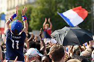 Young boy during the parade of the team France on Champ-Elysées after winning the 2018 FIFA World Cup Russia on July 16, 2018 in Paris, France - Photo Philippe Millereau / KMSP / ProSportsImages / DPPI