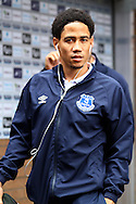 Everton's Steven Pienaar arrives at Turf Moor. Barclays Premier league match, Burnley v Everton at Turf Moor in Burnley, Lancs on Sunday 26th October 2014.<br /> pic by Chris Stading, Andrew Orchard sports photography.