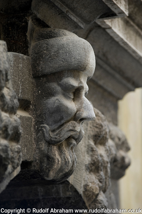 Sculpture of an Uskok's head above a door, Senj, Croatia
