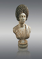 Roman marble sculpture bust of an unkown women, Late Trajan period 110-117 AD , inv 6074 Farnese Collection, Naples  Museum of Archaeology, Italy .<br /> <br /> If you prefer to buy from our ALAMY STOCK LIBRARY page at https://www.alamy.com/portfolio/paul-williams-funkystock/greco-roman-sculptures.html . Type -    Naples    - into LOWER SEARCH WITHIN GALLERY box - Refine search by adding a subject, place, background colour, etc.<br /> <br /> Visit our ROMAN WORLD PHOTO COLLECTIONS for more photos to download or buy as wall art prints https://funkystock.photoshelter.com/gallery-collection/The-Romans-Art-Artefacts-Antiquities-Historic-Sites-Pictures-Images/C0000r2uLJJo9_s0