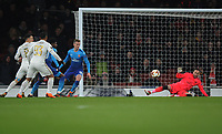Football - 2017 / 2018 Europa League - Round of Thirty-Two, Second Leg: Arsenal (3) vs. Ostersunds FK (0)<br /> <br /> David Ospina of Arsenal saves another shot, at The Emirates.<br /> <br /> COLORSPORT/ANDREW COWIE