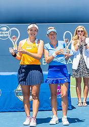 August 5, 2018 - San Jose, CA, U.S. - SAN JOSE, CA - AUGUST 05: Latisha Chan (TPE) and Kveta Peschke (CZE) celebrates with their trophies for the WTA Doubles Championship match at the Mubadala Silicon Valley Classic on the San Jose State University Stadium Court in San Jose, CA  on Sunday, August 5, 2018. (Photo by Douglas Stringer/Icon Sportswire) (Credit Image: © Douglas Stringer/Icon SMI via ZUMA Press)
