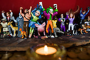 Plastic toy characters representing the community at the Rivendell Buddhist Retreat Centre, East Sussex, England.