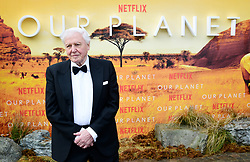 Sir David Attenborough attending the global premiere of Netflix's Our Planet, held at the Natural History Museum, London.