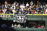 "CHICAGO, IL-SEPTEMBER 30, 1990:  ""Old"" Comiskey Park, home of the Chicago White Sox from 1910 thru 1990.  It was demolished in 1991.  Fans salute the final game played at Old Comiskey Park on September 30, 1990.  (Photo by Ron Vesely)"