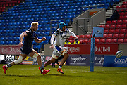 Sale Sharks flanker Jean-Luc Du Preez  and Bath Rugby's No.8 Zach Mercer chase a loose ball over the Sale line during a Gallagher Premiership Round 9 Rugby Union match, Friday, Feb 12, 2021, in Leicester, United Kingdom. (Steve Flynn/Image of Sport)