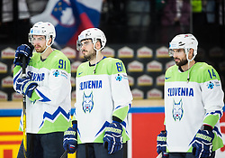 Miha Verlic of Slovenia, Jurij Repe of Slovenia and Matic Podlipnik of Slovenia look dejected after the 2017 IIHF Men's World Championship group B Ice hockey match between National Teams of Finland and Slovenia, on May 10, 2017 in AccorHotels Arena in Paris, France. Photo by Vid Ponikvar / Sportida