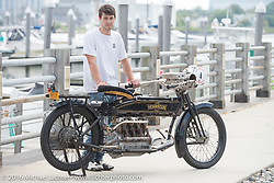 Mechanic and restorer Tanner Whitton of New York with Mark Hill's 4-cylinder 1915 class-2 Henderson  before the start of the Motorcycle Cannonball Race of the Century Run. Atlantic City, NJ, USA. September 9, 2016. Photography ©2016 Michael Lichter.