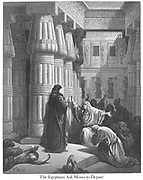 The Egyptians Urge Moses to Depart Exodus 12:31 From the book 'Bible Gallery' Illustrated by Gustave Dore with Memoir of Doré and Descriptive Letter-press by Talbot W. Chambers D.D. Published by Cassell & Company Limited in London and simultaneously by Mame in Tours, France in 1866