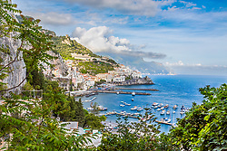 Amalfi Italy, and harbor looking east to the town of Atrani.