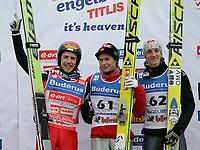 Das Podium mit: Simon Ammann (SUI), Andres Jacobsen (NOR) und Gregor Schlierenzauer (AUT). © Andre Albrecht/EQ Images