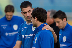 Branko Ilic and Bojan Jokic of Slovenian National football team at practice a day before the last 2010 FIFA Qualifications match between San Marino and Slovenia, on October 13, 2009, in Olimpico Stadium, Serravalle, San Marino.  (Photo by Vid Ponikvar / Sportida)