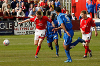 Photo: Paul Greenwood.<br />Accrington Stanley v Macclesfield Town. Coca Cola League 2. 28/04/2007.<br />Accrington's Andrew Todd, (L) holds off the challenge of Isiah Rankin