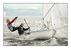 470 Class European Championships Largs - Day 1.Racing in grey and variable conditions on the Clyde...GBR849, Joanna FREEMAN, Katie TOMSETT, Parkstone YC