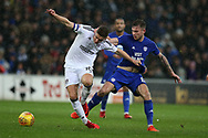 Tom Cairney of Fulham looks to break away from Joe Ralls  of Cardiff city (r) .  EFL Skybet championship match, Cardiff city v Fulham at the Cardiff city stadium in Cardiff, South Wales on Boxing Day, Tuesday 26th December 2017.<br /> pic by Andrew Orchard, Andrew Orchard sports photography.