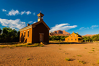 """The Grafton schoolhouse and church with the Alonzo Russell Home in back). This was the location of the bicycle scene in the movie """"Butch Cassidy and the Sundance Kid"""".  The ghost town of Grafton (settled by Mormon in 1847, the people of the town were killed in January 1866 by Navajo Indians near Colorado City, AZ). The ghost town, near Rockville, Utah, USA, is a National Register Historic Site."""