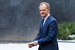 © Licensed to London News Pictures. 01/03/2018. London, UK. European Council President Donald Tusk arrives on Downing Street to meet with Prime Minister Theresa May. Photo credit: Rob Pinney/LNP