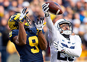 Donovan Peoples-Jones #9 of the Michigan Wolverines goes to catch a pass in a game against Penn State at Michigan Stadium on November 3, 2018 in Ann Arbor, Michigan.