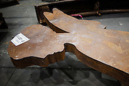 An steel angle placed at the  World Trade Center site  during the recovory process is now part of the   9/11 Memorial Museums collection. Artifacts chosen by curators out of the wreckage  from the World Trade Center  stored temporarily within an 80,000 square foot hanger at JFK airport. Some of the artifacts will be in the National September 11 Memorial Museum set to open in 2012.