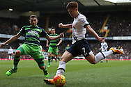 Son Heung-Min of Tottenham Hotspur takes a shot at goal. Barclays Premier league match, Tottenham Hotspur v Swansea city at White Hart Lane in London on Sunday 28th February 2016.<br /> pic by John Patrick Fletcher, Andrew Orchard sports photography.