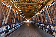 Interior of the Knights Ferry wooden covered bridge, longest west of the Mississippi River, Stanislaus County, California