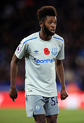 """Everton's Beni Baningime during the Premier League match at the King Power Stadium, Leicester. PRESS ASSOCIATION Photo. Picture date: Sunday October 29, 2017. See PA story SOCCER Leicester. Photo credit should read: Mike Egerton/PA Wire. RESTRICTIONS: EDITORIAL USE ONLY No use with unauthorised audio, video, data, fixture lists, club/league logos or """"live"""" services. Online in-match use limited to 75 images, no video emulation. No use in betting, games or single club/league/player publications."""