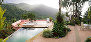 The view over the pool at Casa Flamboyant, a bed and breakfast in El Yunque National Forest, Puerto RIco.