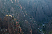 Precipitous view down to the Gunnison River from Island Peaks, Black Canyon of the Gunnison National Park, Colorado.
