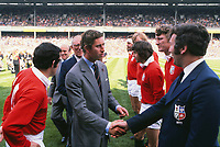 """Rugby Union - 1977 Silver Jubilee Match - British Lions 23 Barbarians 14<br /> <br /> HRH Prince Charles is introduced to John Dawes (Lions coach) by Phil Bennett (left) before the game at Twickenham.<br /> <br /> The match was notable for being the first time that a British Lions team had played a """"home"""" fixture"""