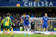 John Terry, the Chelsea captain heads the ball clear. Barclays Premier league match, Chelsea v Norwich city at Stamford Bridge in London on Saturday 21st November 2015.<br /> pic by John Patrick Fletcher, Andrew Orchard sports photography.