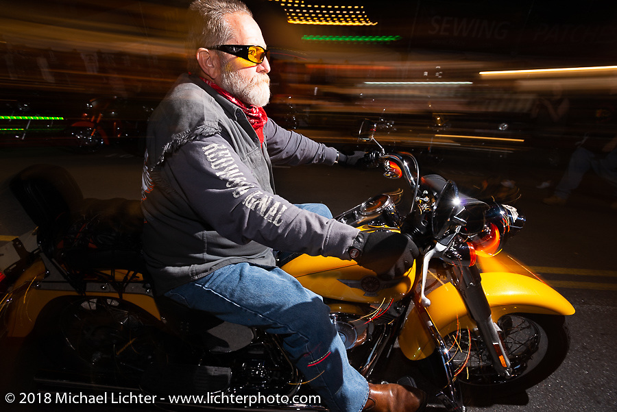 Riding down Lakeside Avenue in Weirs Beach during Laconia Motorcycle Week. NH, USA. Saturday, June 16, 2018. Photography ©2018 Michael Lichter.