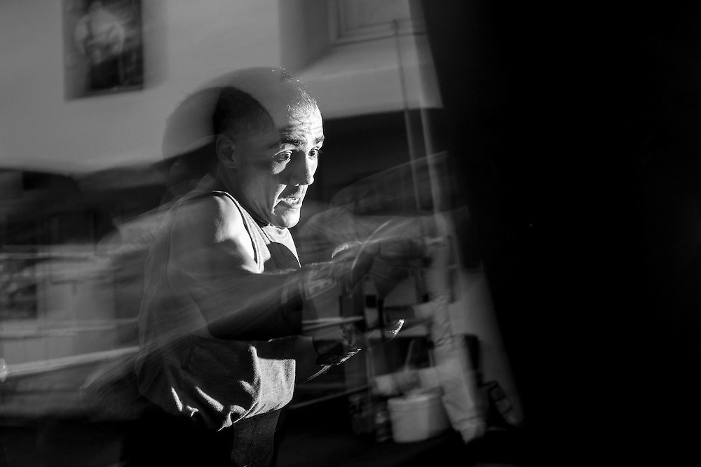 Hours after many boxers have gone home, Raymond Grajeda is one of the last boxers of the evening to leave La Habra Boxing Club on November 3, 2016.