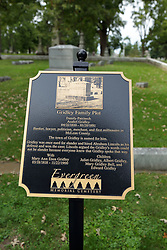 26 August 2017:   A part of the History of McLean County Illinois.<br /> <br /> Tombstones in Evergreen Memorial Cemetery.  Civic leaders, soldiers, and other prominent people are featured.