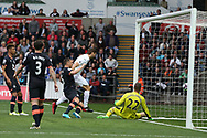Fernando Llorente of Swansea city © scores his teams 1st goal. Premier league match, Swansea city v Everton at the Liberty Stadium in Swansea, South Wales on Saturday 6th May 2017.<br /> pic by  Andrew Orchard, Andrew Orchard sports photography.