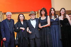 """Antoine Sire, Claude Lelouch, Anouk Aimee, Jean-Louis Trintignant, Marianne Denicourt, Monica Bellucci and Tess Lauvergne attend the screening of """"Les Plus Belles Annees D'Une Vie"""" during the 72nd annual Cannes Film Festival on May 18, 2019 in Cannes, France. Photo by Shootpix/ABACAPRESS.COM"""