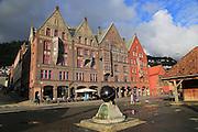 Historic buildings in Bryggen area, city centre of Bergen, Norway