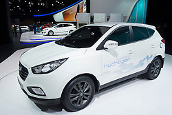 hydrogen fuel cell concept  Hyundai ix35 car at Paris Motor Show 2012