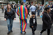 Man wearing a rainbow suit during the Birmingham Weekender Arts And Culture Festival on 23rd September 2017 in Birmingham, United Kingdom.