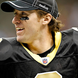September 1, 2011; New Orleans, LA, USA; New Orleans Saints quarterback Drew Brees (9) on the sidelines during the second half of a preseason game against the Tennessee Titans at the Louisiana Superdome. The Titans defeated the Saints 32-9. Mandatory Credit: Derick E. Hingle