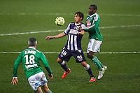 Oscar Trejo / Landry N Guemo - 28.02.2015 - Toulouse / Saint Etienne - 27eme journee de Ligue 1 -<br />Photo : Manuel Blondeau / Icon Sport