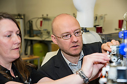 Pictured: Patrick Harvie was shown some details of the wind turbine technology by technician Eileen Mullan<br /> <br /> As part of the final few days of the election campain Greens Co-convenors Patrick Harvieand Maggie Chapman along with local candidate Mark Ruskell met a wind turbine class at Fife College. Students are studying City and Guilds qualifications in wind turbine technology as the colleage strive to become a centre of excellence in wind turbine technology.<br /> <br /> Ger Harley | EEm 29 April 2016