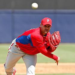 March 4, 2012; Tampa Bay, FL, USA; Philadelphia Phillies pitcher Joel Pineiro (39) during spring training game at George M. Steinbrenner Field. Mandatory Credit: Derick E. Hingle-US PRESSWIRE